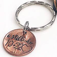 amazon 7 year anniversary gift for him copper anniversary present i still do keychain penny keychain husband gifts wife gifts custom penny