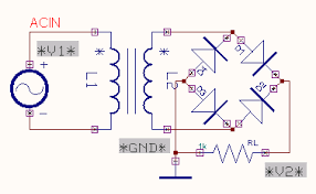 bridge rectifier edwin 2000 > mixed mode simulator the circuit is preprocessed the test points and waveform markers are placed in input and output of the