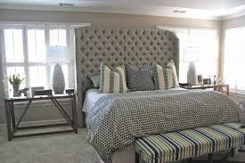 Long Bedroom Bench Bedroom Contemporary Pendant Lamp Feat Gorgeous Tufted Headboard