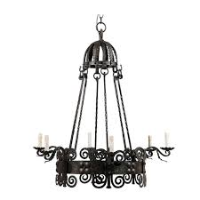 italian six light black circular iron vintage chandelier with scroll motifs for