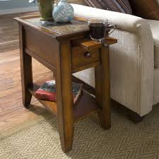 wooden end tables. Brown Polished Wooden Narrow Side Tables With Single Shelf And Drawer Also Sliding Tray On Floor Cool Features Sofand Antique White Living Room End O