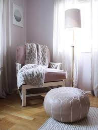 bedroom reading corner purple chair gray knitted throw grey sheers sete window blinds