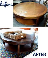 How To Stain A Vintage Coffee Table A Darker Color. Round Wood ...