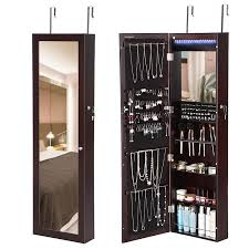 solid cherry wood frame mirrored over the door jewelry armoire