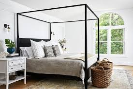 Black Wood Canopy Bed with White Nightstands - Transitional - Bedroom
