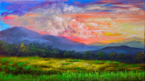 acrylic landscape painting tutorial sunset in the mountains painting lesson for beginners you