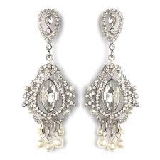 rhodium clear rhinestone diamond white pearl chandelier bridal wedding earrings 2376