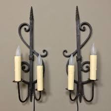pair antique wrought iron wall sconces