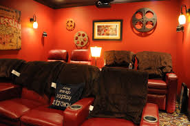 Movie Themed Living Room Movie Room Movie Room Decor With Bold Red Accent In Living Room
