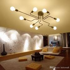 exposed lighting. Best Industrial Style Retro Wrought Iron 6 Light 8 Exposed Edison Bulb Large Indoor Semi Flush Ceiling Lamp In Black Finish Under $50.76 Lighting I