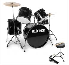 mirage raven acoustic full size starter drum kit black
