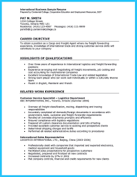 International Business Resume Objective 12 Sample Experience Student