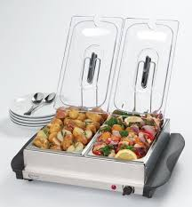 buffet server stainless steel warming tray 2 dish electric food warmer catering