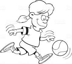 Fille De Dessin Anim Jouer Au Basketball Cliparts Vectoriels Et