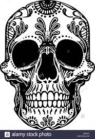 Vector Black And White Tattoo Mexican Skull Illustration Stock