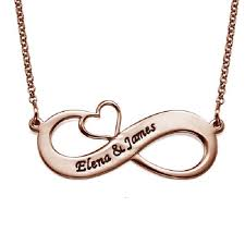 simple design heart cut out silver rose gold customized name infinity necklace
