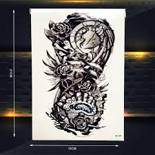 металлический робот рука поддельные черная временная татуировка для мужчин
