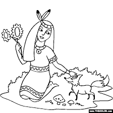 Native American Indian Princess Coloring Page