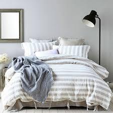 yarn dyed stripe linen bed linen duvet cover sets pure linen bedding king queen twin duvet