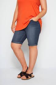 Details About Yours Clothing Womens Plus Size Dark Blue Denim Shorts