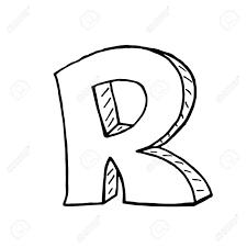 英語のアルファベット 手描き文字 R