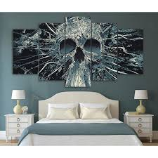 sale 5 pieces abstract skull canvas wall art skullflow on wall picture arts with skull wall arts skullflow