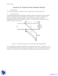 Single Stub Tuner Rf And Microwave Engineering Lab Notes
