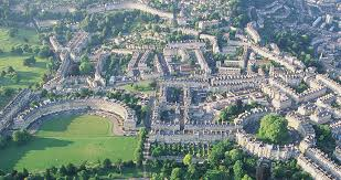 bath england. the royal crescent and circus from air © visitbath.co.uk, bath tourism plus england w