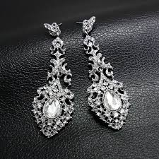 bridal chandelier earrings vintage dangle drop earrings crystal bridal earrings cz earrings bridesmaid long drop earrings