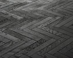 Black timber floor - Herringbone parquet