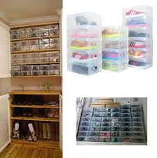 10pcs/lot Foldable Plastic Shoe Storage Case Boxes bag Stackable Organizer  Shoe Holder Easy DIY-in Storage Boxes & Bins from Home & Garden on  Aliexpress.com ...