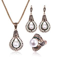 vintage water drop jewelry sets large pearl full crystal hollow pendant necklace earrings ring jewelry for women engagement gift uk 2019 from buete