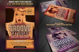 Party Flyer Adorable Groove Party Flyer Vintage Style Flyer Templates Creative Market Pro