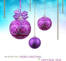 Purple Christmas Card Christmas Card With Hanging Violet Balls Background Free