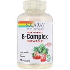 Solaray, <b>High Potency B-Complex Chewable</b>, Natural Strawberry ...