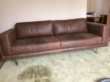 west elm dempsey 3 seater leather sofa brown