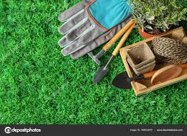 composition plant professional gardening tools artificial grass stock photo
