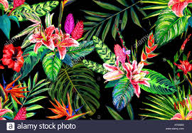 seamless tropical fl pattern hand painted watercolor exotic leaves and flowers on black background textile design