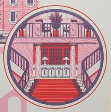 the grand budapest hotel print graphic goodies  a beautiful art print featuring the remote mountainside hotel from wes anderson s film the grand budapest hotel