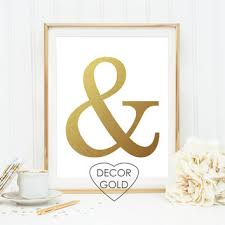 ampersand and sign gold foil print gold foil poster wall art typ