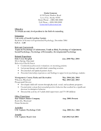 Psychology Resume Objective Waiter Resume Examples For Letters Job