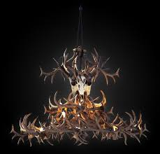 antler chandelier 3d model max obj mtl fbx 1
