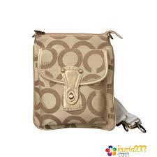 Coach Turnlock Signature Small Khaki Crossbody Bags