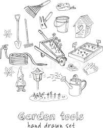 Small Picture Garden tools doodle set Various equipment and facilities for
