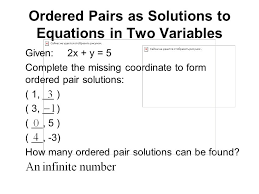 ordered pairs as solutions to equations in two variables