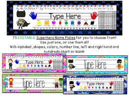 Editable Hundreds Chart Editable Superhero Name Plates