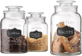 Amazon.com: Home Essentials Quality Canister, Clear Glass, Chalkboard Jar  with Tight Lids for Bathroom or Kitchen, Food Storage Containers, Round, ...