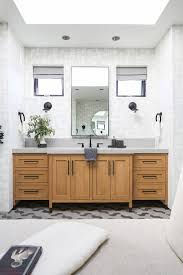 gold stained wood washstand with gray concrete countertop