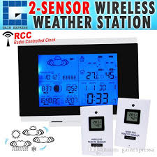aok 5018b 2s indoor outdoor wireless weather station temperature humidity remote sensor date radio controlled clock rcc dst w 2 sensors thermometer with 2