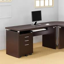 Computer Desk with Keyboard Tray in Cappuccino
